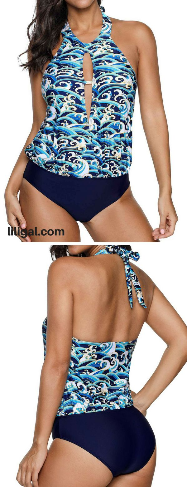Keyhole Neckline Halter Printed Tankini Top and Panty   #liligal #swimwear #swim...