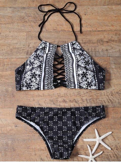 Printed Cutout High Neck Bikinis Swimsuit