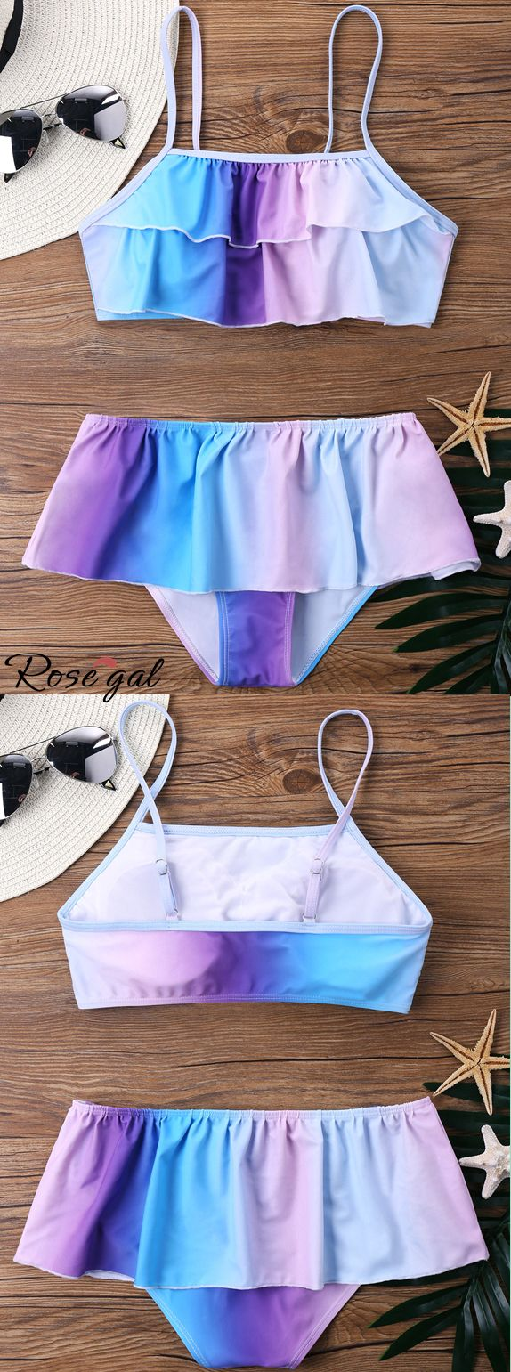 Up to 60% off. Free shipping worldwide.Ombre Bikini with Flounce.The delicate bi...