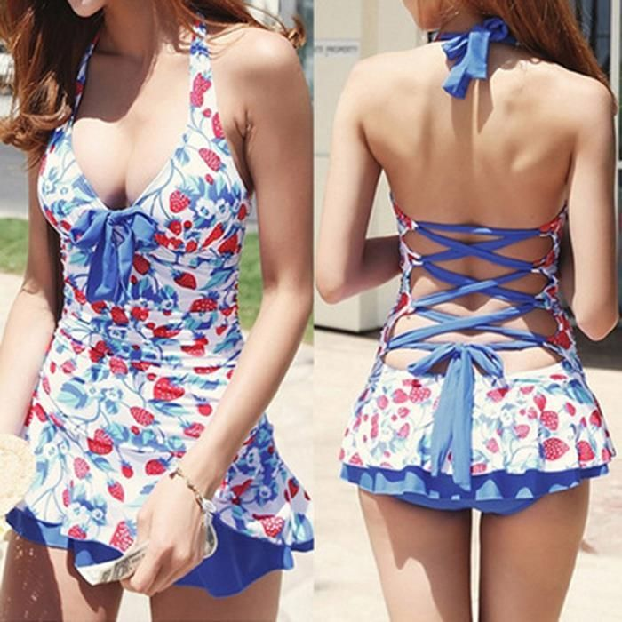 Women Halter Sexy Strawberry Print Bow One Piece Dress Swimsuits Ladies Cute Bat...
