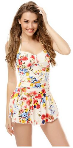 love the floral print on this modest suit One Piece Floral Ruched Halter Slim Tu...