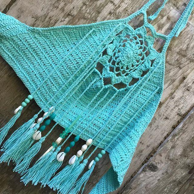 ☮ American Hippie Bohéme Boho Summer Style ☮ Crochet Crop Top .. Fringe Tas...