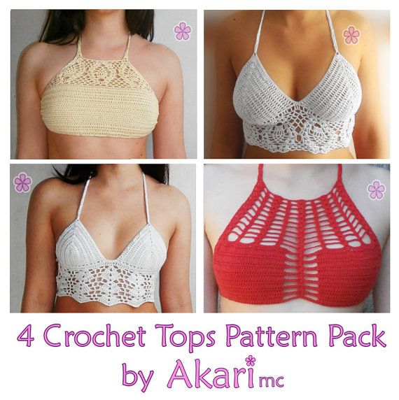 2 FREE Crochet bikini top patterns 2 lacy crop crochet tops PDF crochet pattern ...