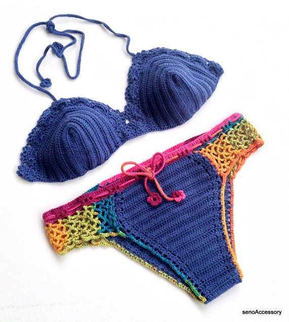Bikini Set Crochet Bikini Top Bikini Bottom Women Swimwear Swimsuit Summer Beach...