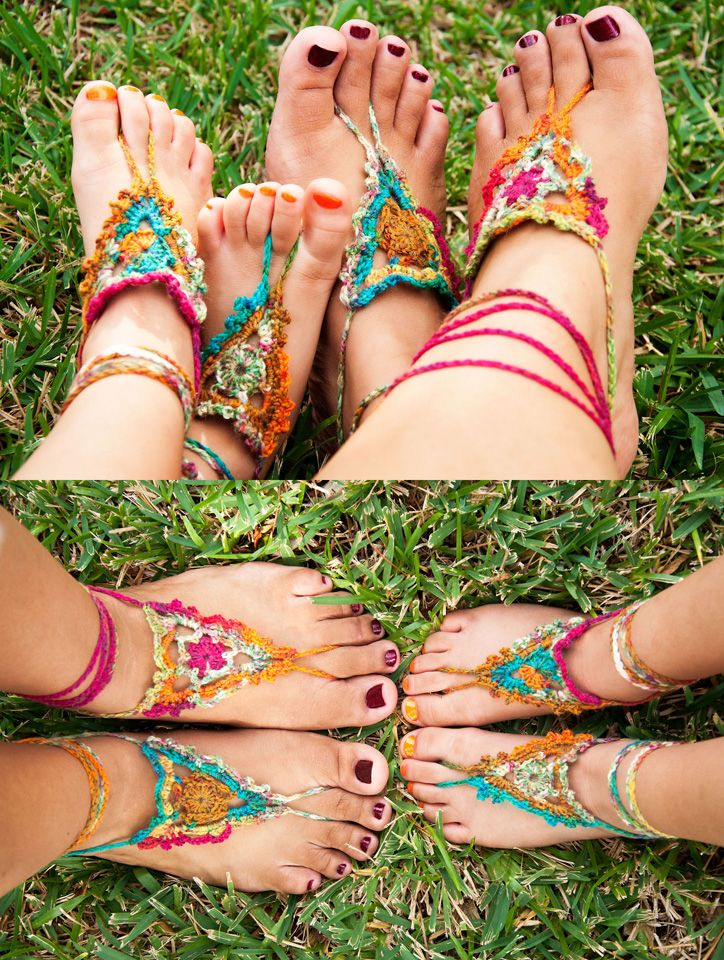 Crochet Pattern for FREE Goddess Barefoot Sandals thank you so much Julie for ma...