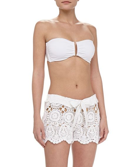 Crochet Tie-Waist Shorts, White