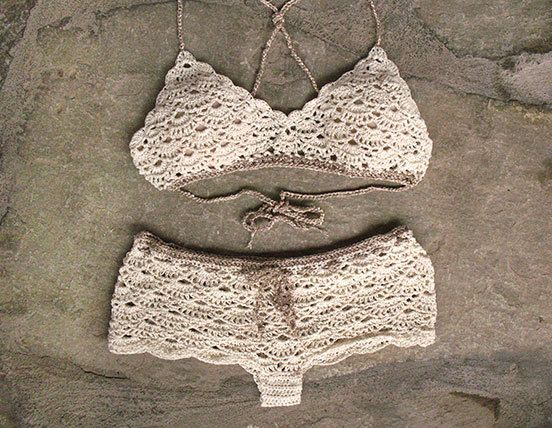 Crochet bralette and crochet shorts in cream, Bridal lingerie, Crochet beachwear...