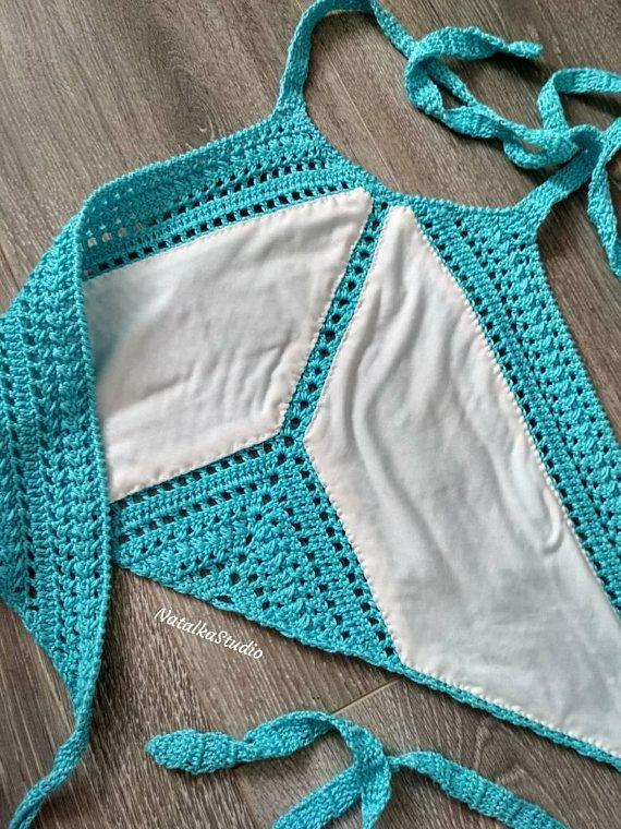 Crochet top women Halter top Crop top Beach top Halter crochet top Beach wear Cr...