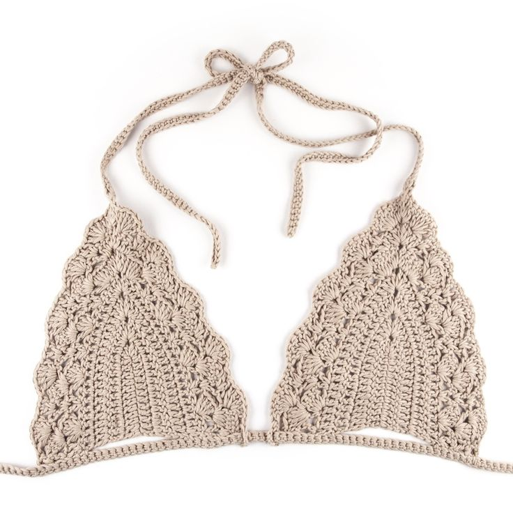 Image of Triangle Crochet Bikini Bra - Beige
