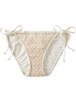 Old Navy Metallic-Crochet String Bikini Bottom