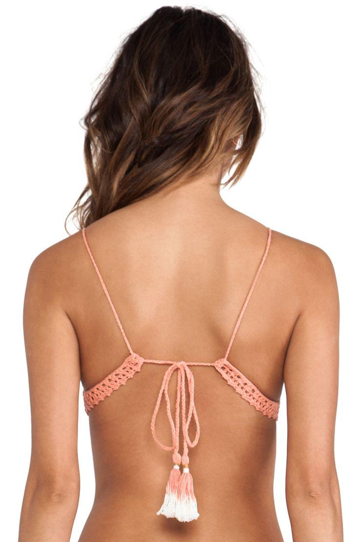 SHE MADE ME Bralette Bikini Top in Peach