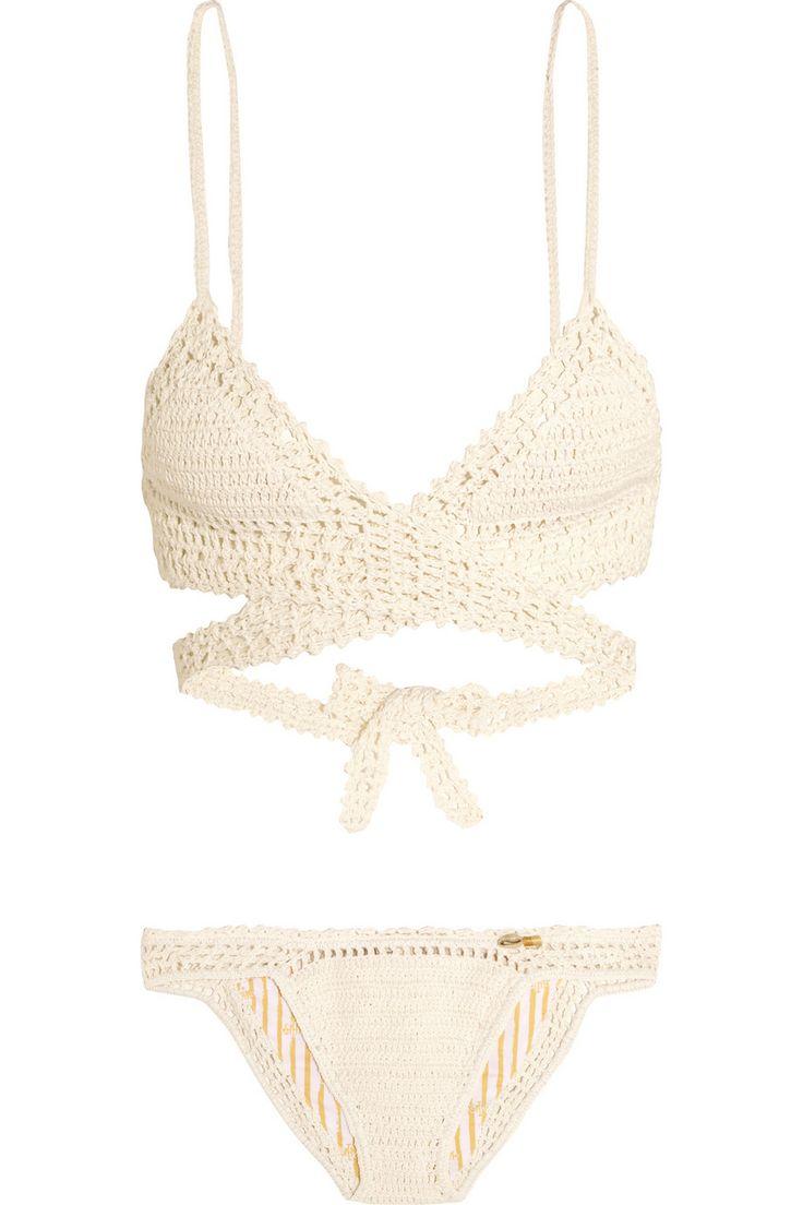She Made Me | Crocheted cotton triangle bikini | NET-A-PORTER.COM