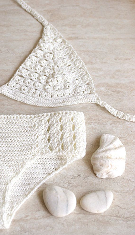Swimsuit crochet with microfibre thread, Crochet swimwear, Vintage crochet lace ...
