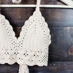 boho festival crochet crop top - nude