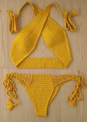 ganchillo bikini traje de baño bikini mujer amarillo traje
