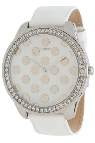 GUESS U0258L2 Women's Very Large Dial White Patent Leather Strap * This is a...