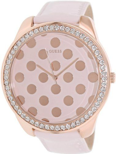 GUESS U0258L3 Women's Pink Patent Leather Strap Watch. * Click image for mor...