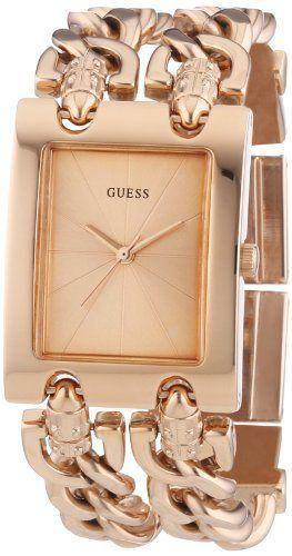 GUESS W0073L2 Women's Trendy Rose Gold-Tone Double-Chain Bracelet Watch *** ...