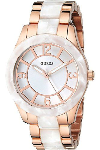 GUESS W0074L2 Women's Stainless Steel Rose Gold-Tone and White Marbellized *...