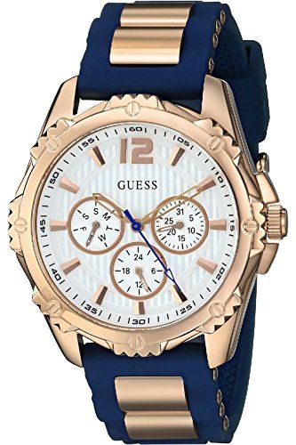 GUESS W0325L8,Ladies Dress Sport,Multi Function,Rose Gold Tone Case,Silicone Str...