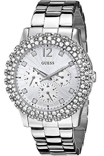 GUESS W0335L1 Womens SilverTone MultiFunction Watch with Crystal Accents *** Cli...