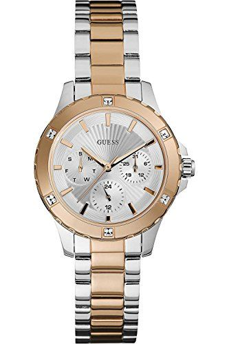 GUESS W0443L4,Ladies Two Tones With Rose Gold,Multi-Function,Stainless Steel Cas...