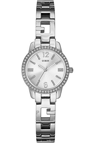 GUESS W0568L1,Women's Dress,Silver-Tone,Stainless Steel,Crystal Accented Bez...