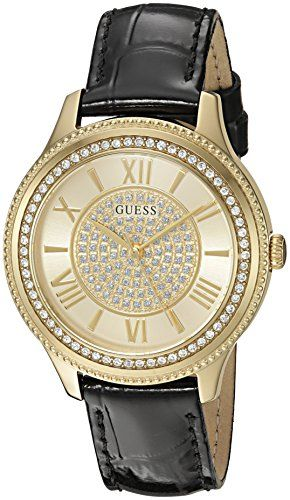 GUESS Women's Dressy Gold-Tone Watch with Gold Dial , Crystal-Accented Bezel...