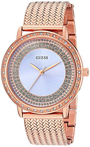 GUESS Women's Dressy Rose Gold-Tone Watch with Blue Dial , Crystal-Accented ...