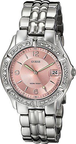 GUESS Women's G75791M Sporty Silver-Tone Watch with Pink Dial , Crystal-Acce...
