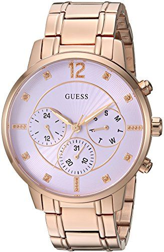 GUESS Women's Quartz Stainless Steel Casual Watch, Color:Rose Gold-Toned (Model:...