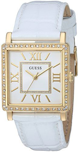 GUESS Women's Quartz Stainless Steel and Leather Casual Watch, Color:White (...