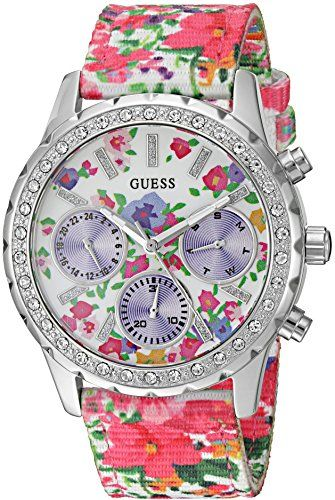 GUESS Women's Sporty Silver-Tone Watch with Floral Print Dial , Crystal-Acce...