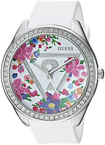 GUESS Women's U0904L1 Trendy Silver-Tone Watch with  White Dial  and Silicone Ba...