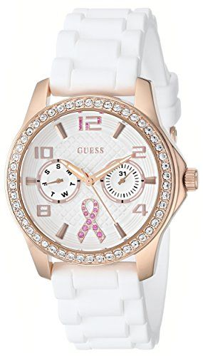 GUESS Women's U0032L3 Rose Gold-Tone Breast Cancer Awareness Watch with Whit...
