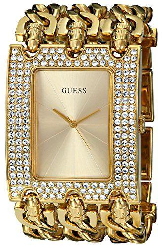 GUESS Women's U0085L1 Rocker Glitz Multi-Chain Gold-Tone Bracelet Watch * Se...