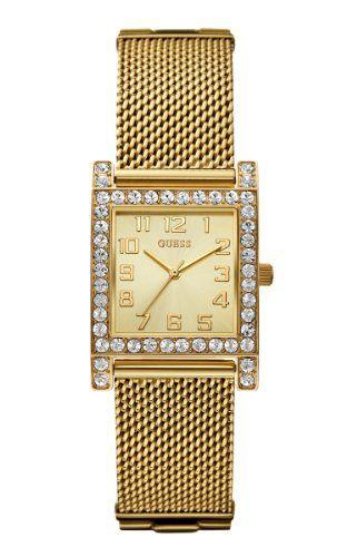 GUESS Women's U0130L2 Enduring Chic Crystal Mesh Gold-Tone Watch -- Click im...