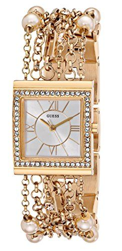 GUESS Women's U0140L2 Pearl Embellished Gold-Tone Bracelet Watch -- Find out...