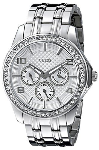 GUESS Women's U0147L1 Polished Glamour Silver-Tone Crystal Watch -- Check out th...