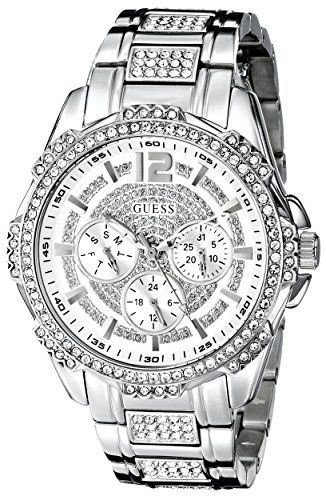 GUESS Women's U0286L1 Sporty Silver-Tone Stainless Steel Watch with Multi-functi...
