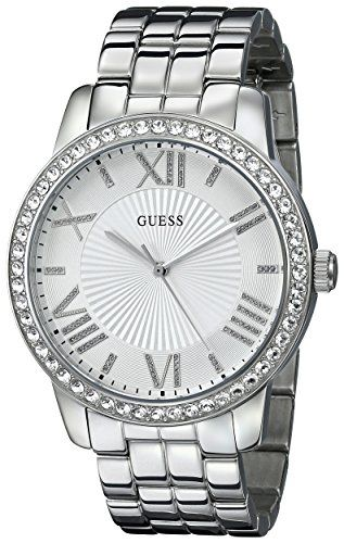 GUESS Womens U0329L1 CrystalAccented Stainless Steel Watch * You can find more d...