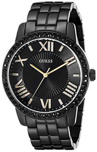 GUESS Womens U0329L5 Classic Black  GoldTone Watch with Roman Numerals * Click i...