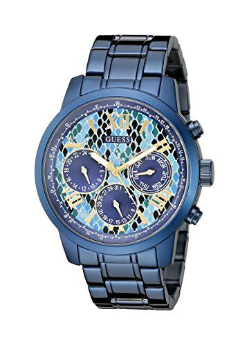 GUESS Women's U0330L17 Iconic Indigo  Blue Python Print Multi-Function Watch...