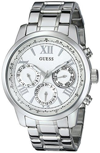 GUESS Women's U0330L3 Sporty Silver-Tone Stainless Steel Watch with Multi-functi...