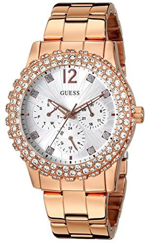 GUESS Women's U0335L3 Rose Gold-Tone Multi-Function Watch with Genuine Cryst...