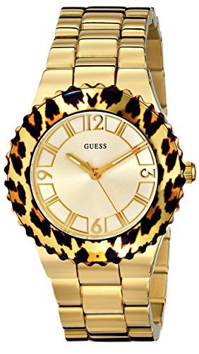 GUESS Women's U0404L1 Gold-Tone Watch with Animal Print Top Ring *** Want ad...