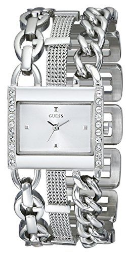 GUESS Womens U0433L1 CrystalAccented SilverTone Watch with Link Bracelet -- Read...
