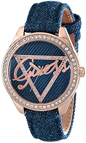 GUESS Women's U0456L6 Iconic Blue Logo Watch with Blue Denim Leather Strap