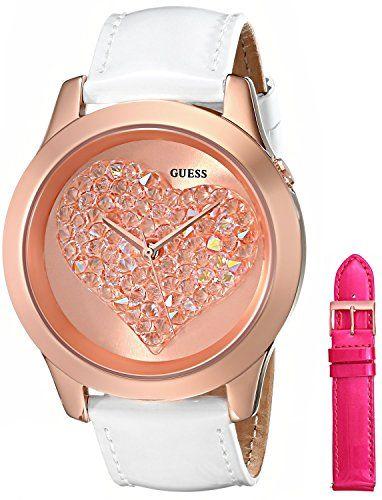 GUESS Women's U0528L1 Interchangeable Wardrobe Rose Gold-Tone Heart Watch Se...
