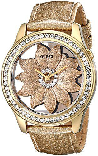 GUESS Women's U0534L2 Gold-Tone Flora Watch with Metallic Gold Genuine Paten...